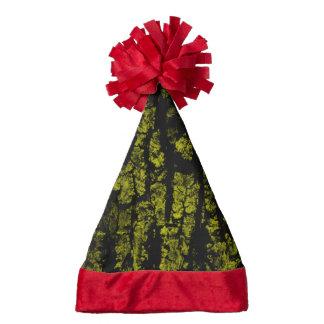 tree bark structure, green santa hat