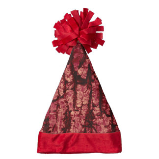 tree bark structure, red santa hat