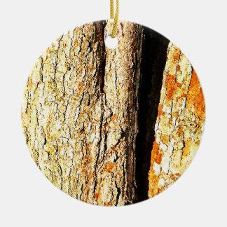 Tree Bark with Orange Tones Ceramic Ornament