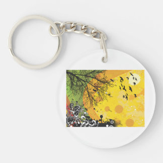 Tree bird floral yellow splotch.png Double-Sided round acrylic keychain