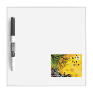 Tree bird floral yellow splotch.png Dry-Erase board