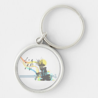 Tree bird sun faded floral graphic.png Silver-Colored round keychain