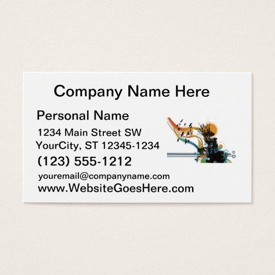 Tree bird sun floral graphic business card