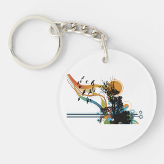 Tree bird sun floral graphic Double-Sided round acrylic keychain