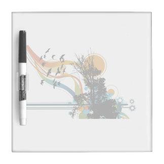 Tree bird sun floral graphic dry erase board