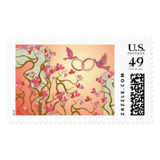 Tree birds & rings stamp with 5 background options