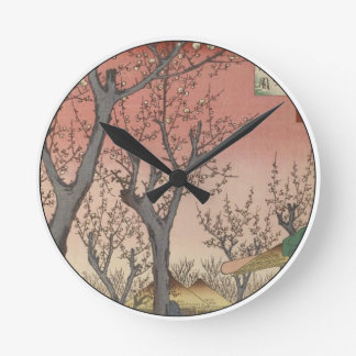 Tree Blossoms Plum Garden Japanese Woodblock Round Clock