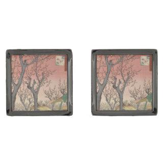 Tree Blossoms Plum Garden Japanese Woodblock Gunmetal Finish Cufflinks