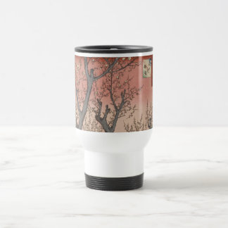 Tree Blossoms Plum Garden Japanese Woodblock 15 Oz Stainless Steel Travel Mug