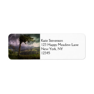 Tree Blowing in the Wind During a Thunder Storm Return Address Label