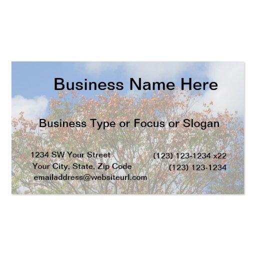 Tree Blue Sky Orange Flowers Image Business Card