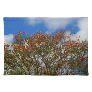 Tree Blue Sky Orange Flowers Image Cloth Placemat