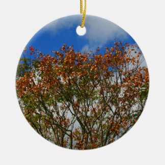 Tree Blue Sky Orange Flowers Image Double-Sided Ceramic Round Christmas Ornament
