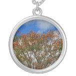 Tree Blue Sky Orange Flowers Image Necklace