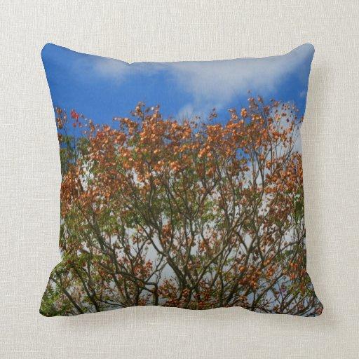 Tree Blue Sky Orange Flowers Image Pillows