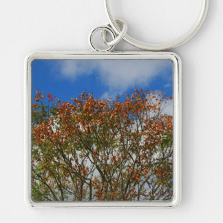 Tree Blue Sky Orange Flowers Image Silver-Colored Square Keychain