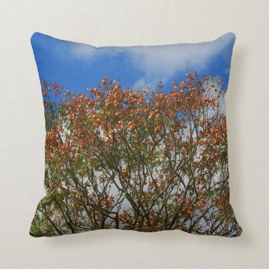 Tree Blue Sky Orange Flowers Image Throw Pillow