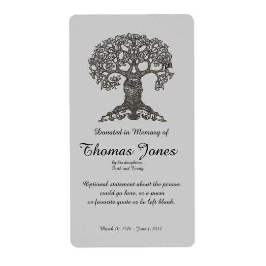 Tree book donated in memory of bookplate for Sd card label template