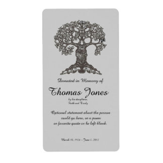Tree Book Donated in Memory of Bookplate .. Labels