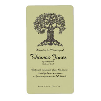 Tree Book Donated in Memory of Bookplate .. Personalized Shipping Label