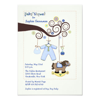 Tree Branch Baby Boy Shower Invitation