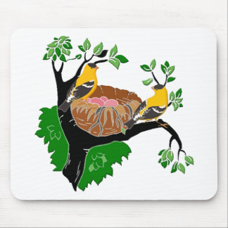 Tree Branch, Nest and Goldfinches Mouse Pad