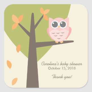 Tree Branch Pink Owl Autumn Baby Shower Thank You Square Sticker