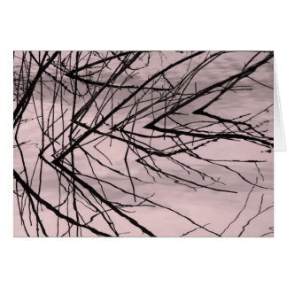 Tree Branch Reflection on Pink Water Greeting Card