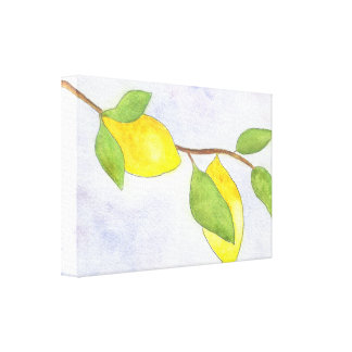 Tree Branch with Lemons and Leaves in Watercolor Canvas Print