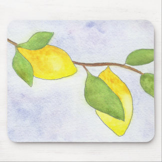 Tree Branch with Lemons and Leaves in Watercolor Mouse Pad