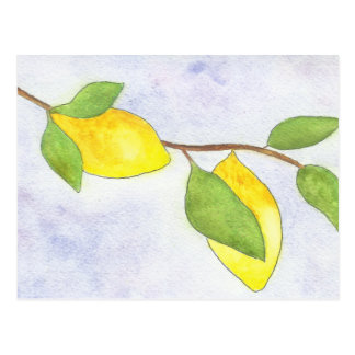 Tree Branch with Lemons and Leaves in Watercolor Postcard