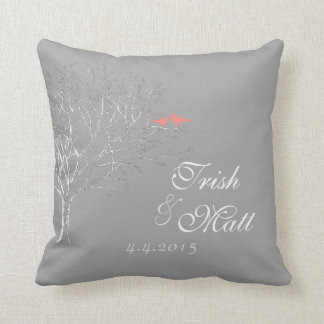Tree Branched Gray Coral Birds Wedding Pillow