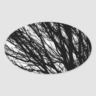 Tree Branches and Light Black and White Oval Sticker