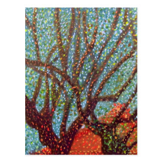 Tree Branches and Red Building Painting Postcard