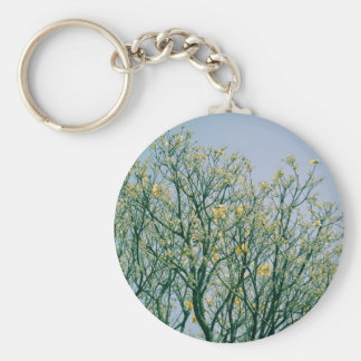 Tree Branches and Yellow Blossoms Keychain