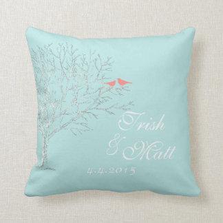 Tree Branches Aqua Coral Birds Wedding Pillow