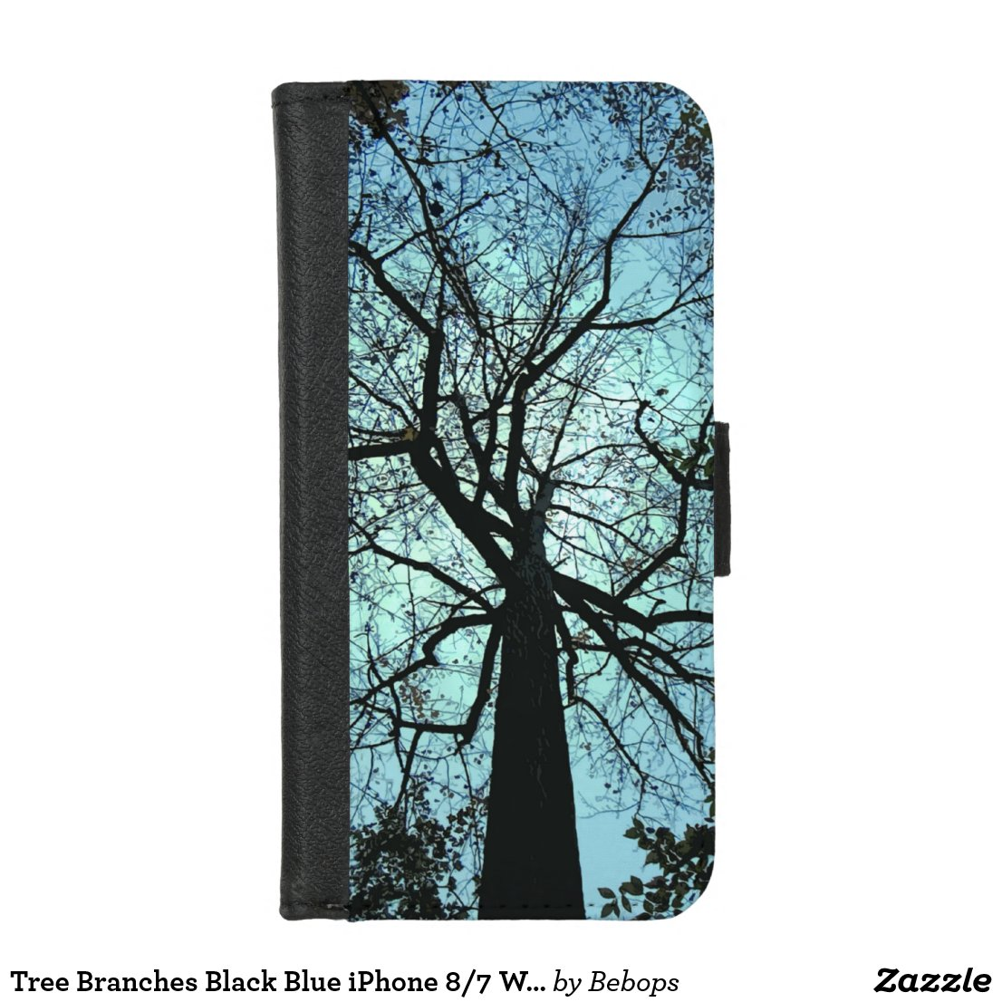 Tree Branches Black Blue iPhone 8/7 Wallet Case