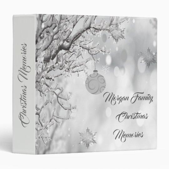 Tree Branches, Christmas Ball,Snowflakes 3 Ring Binder