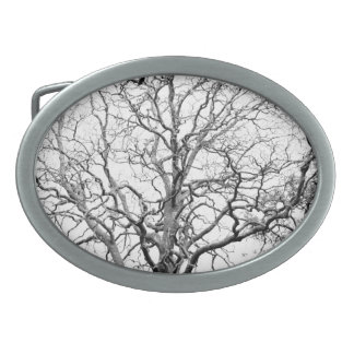 Tree branches oval belt buckles