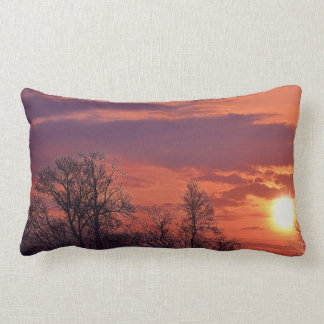 Tree Branches Silhouetted at Sunrise, Nature Art Throw Pillows