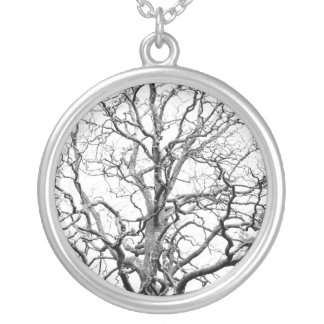 Tree branches silver plated necklace