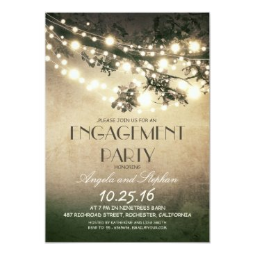 engagements tree branches & string lights engagement party card