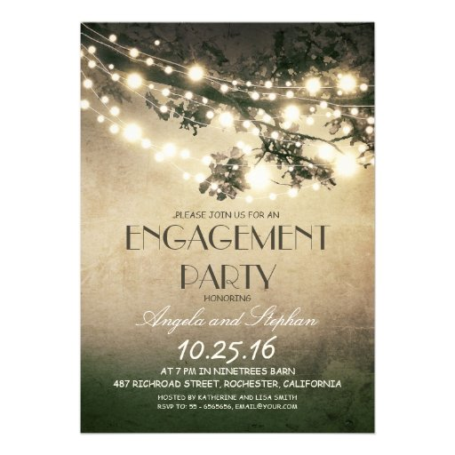 tree branches & string lights engagement party custom invitation