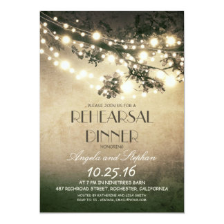 tree branches & string lights rehearsal dinner 5x7 paper invitation card