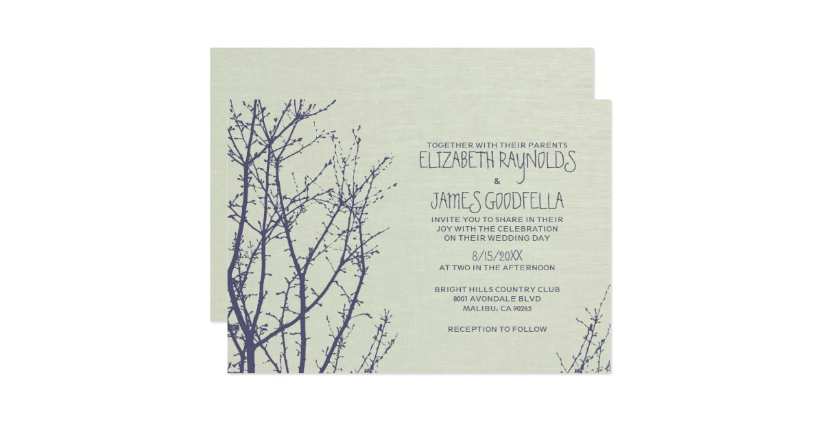 tree branches wedding invitations zazzle With wedding invitations with trees branches