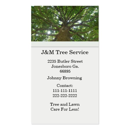 Tree service business card templates bizcardstudio for Tree service business card