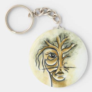 Tree Button Keychain