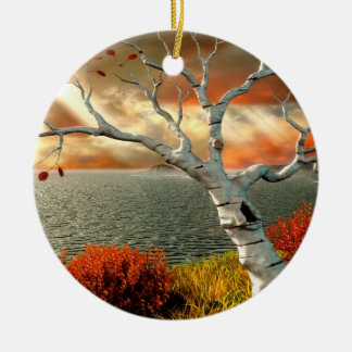 Tree by the Ocean Ceramic Ornament
