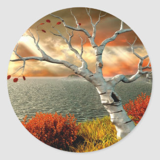 Tree by the Ocean Classic Round Sticker