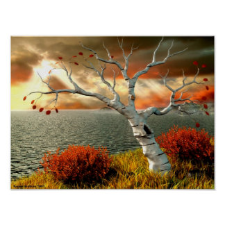 Tree by the Ocean Poster